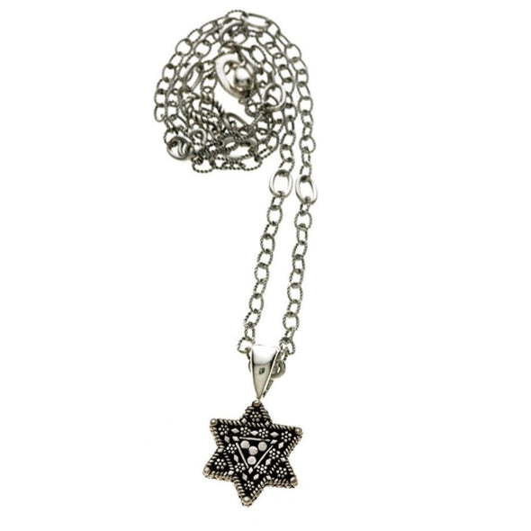 Torah Finial Star Necklace - Sterling Silver, Bronze by Cynthia Gale GeoArt - ModernTribe - 2
