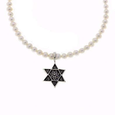 Star of David Sterling Silver White Pearl Necklace - ModernTribe