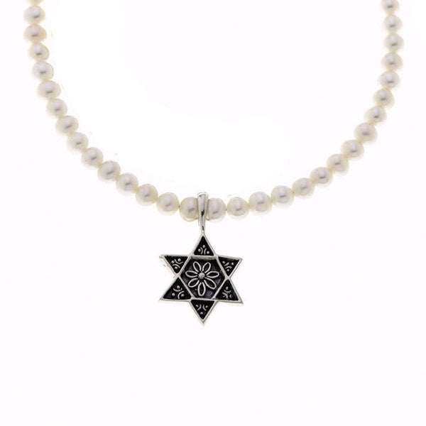 Cynthia Gale GeoArt Necklaces Silver Star of David Sterling Silver White Pearl Necklace