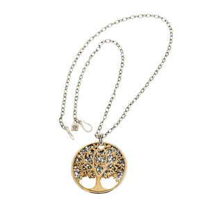 Tree of Life Sterling Silver and Bronze Medallion Necklace