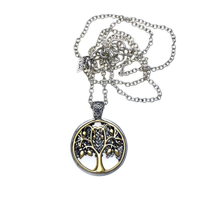 Tree of Life Sterling Silver Bronze Pearl Reversible Necklace