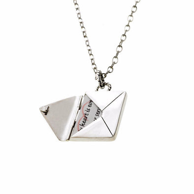 Cynthia Gale GeoArt Necklaces Silver Love Letters Envelope Necklace - Sterling Silver