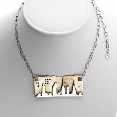 NYC Skyline That Never Sleeps Sterling Silver or Brass Necklace