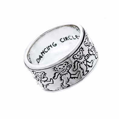 Grateful Dead Dancing Bear Sterling Silver Spinner Ring