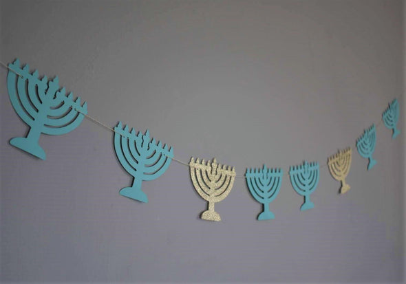 Menorah Garland - Light Blue and Gold