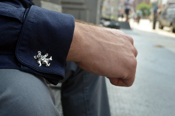 Sterling Silver Grateful Dead Dancing Bear Cufflinks