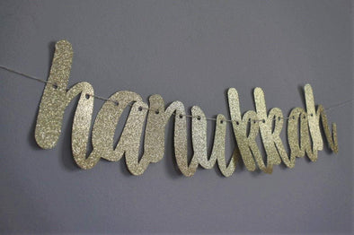 The KitCut Decor Hanukkah Gold Glitter Banner