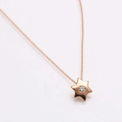 Bareket Jewelry Necklaces 14k Rose Gold with Cable Chain Star of David Diamond Pendant in 14k Gold, Rose Gold or White Gold