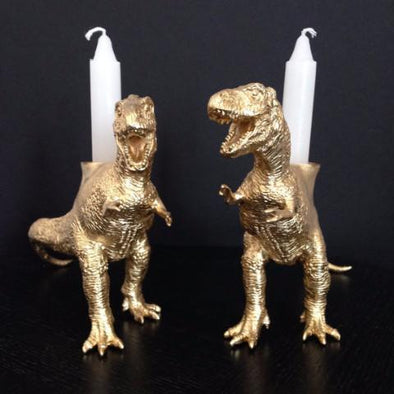 Dinosaur Shabbat Candlesticks in Gold by The Vanilla Studio - ModernTribe - 1