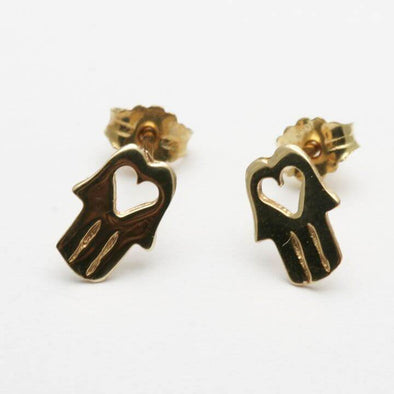 14k Gold Hamsa Heart Earrings - ModernTribe