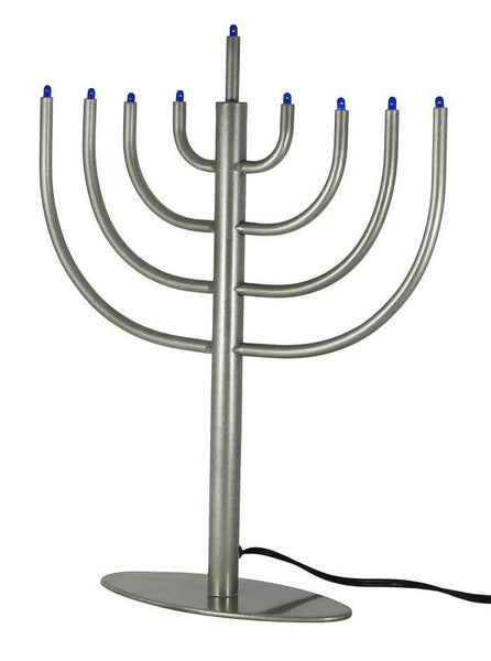 Other Menorah Classic Modern LED Electric Menorah - Silver
