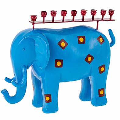 Metal Elephant Menorah