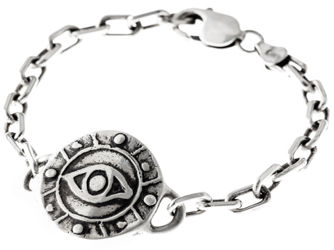 Sterling Silver Eye Medallion Heavy Link Bracelet by Marla Studio - ModernTribe - 1