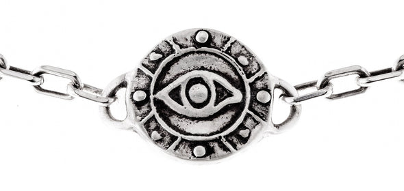 Sterling Silver Eye Medallion Heavy Link Choker - ModernTribe