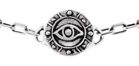 Sterling Silver Eye Medallion Heavy Link Choker by Marla Studio - ModernTribe