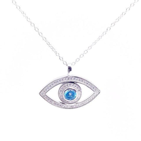 Silver & Blue Evil Eye Necklace by Other - ModernTribe