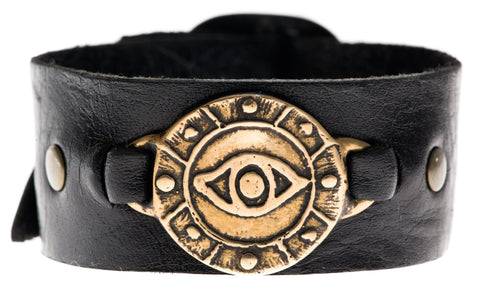 Bronze Eye Leather Cuff Bracelet by Marla Studio - ModernTribe - 1
