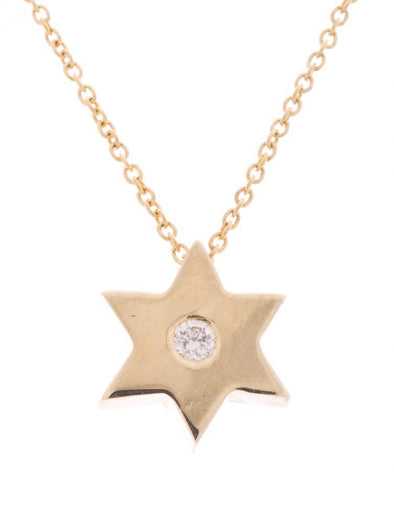 Gold Star Necklace with Single Diamond