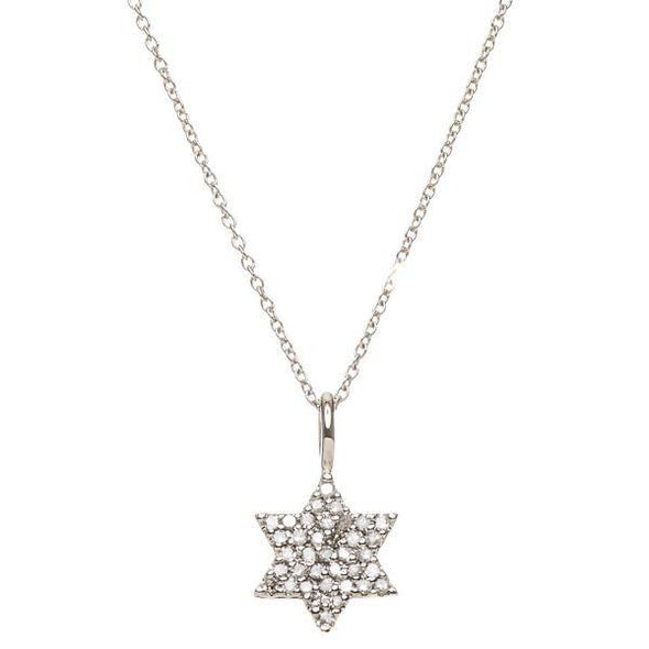 Pave Diamond Star of David Necklace - White Gold, Gold or Rose Gold