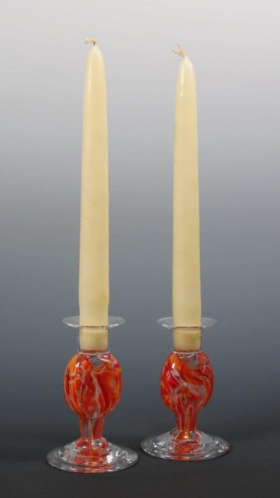 Smash Glass Shabbat Candlesticks by Rosetree Glass Studio - ModernTribe