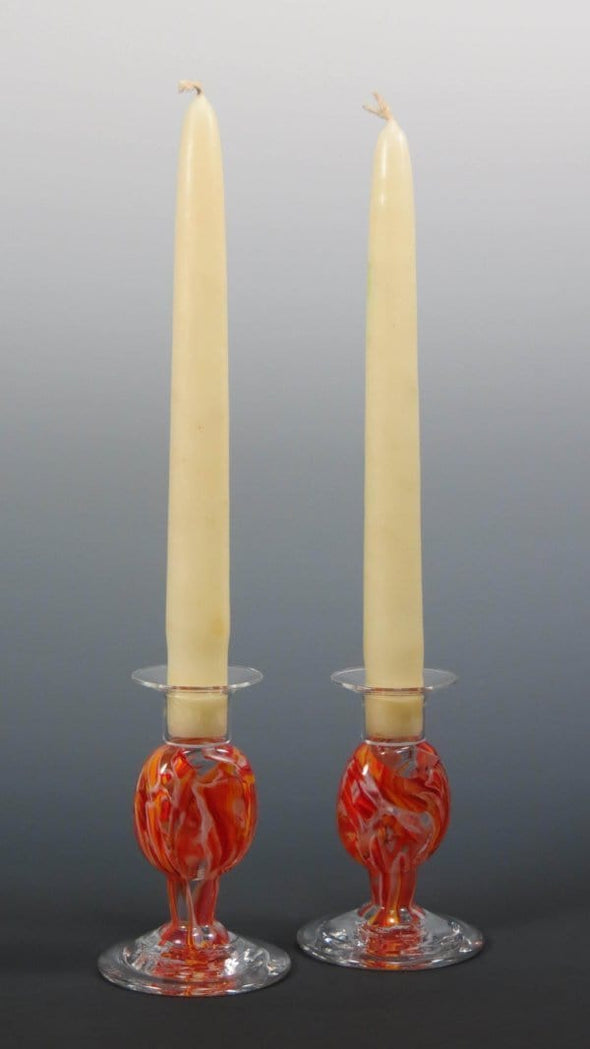 Smash Glass Shabbat Candlesticks by Rosetree Glass Studio