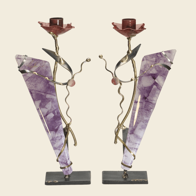 Metal and Glass Purple Shabbat Candlesticks by Gary Rosenthal