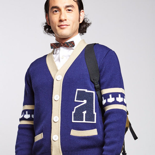 Geltfiend Sweaters Gimmelman Men Varsity Hanukkah Sweater with Authentic Chenille Letter