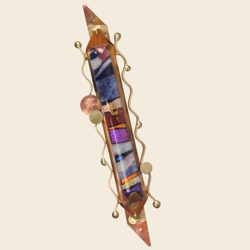 Narrow Pointed Copper Mezuzah with Glass by Gary Rosenthal
