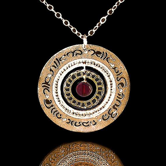 Keren Peled Necklaces Gold Gold Blessings Necklace with Garnet by Keren Peled
