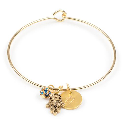 Jillery Bracelets Gold Hamsa With Charms Bangle Bracelet