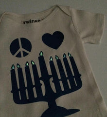 Organic Glow-in-the-Dark Hanukkah Onesie - Ages 0 to 1 by Twinko - ModernTribe - 1