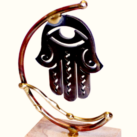 Gary Rosenthal Decor Laser Cut Steel Hamsa Sculpture by Gary Rosenthal