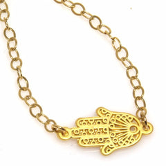 Gold Hamsa in Lace Bracelet by Throwing Stars Jewelry - ModernTribe - 1