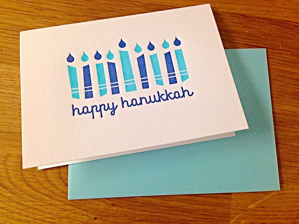 Kiss and Punch Designs Card Letterpress Hanukkah Candles Greeting Card