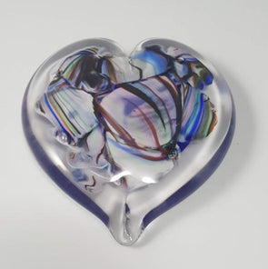 Smash Glass Heart Paperweight by Rosetree Glass Studio