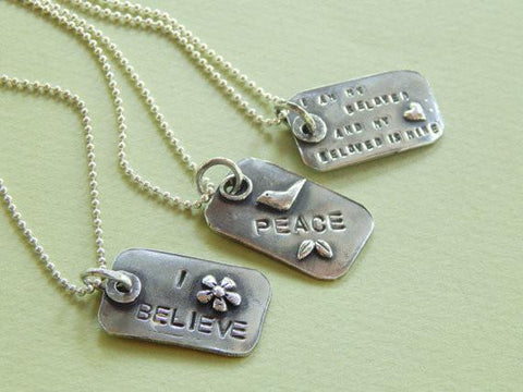 Hebrew/English Silver Dogtag Necklace by Rachel Miller - ModernTribe - 1