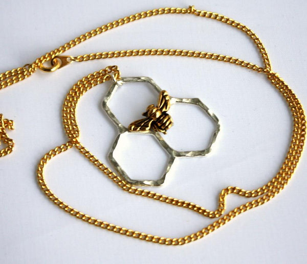 Rachel Pfeffer Necklaces Silver & Gold Mini Honeycomb Necklace on Brass Chain
