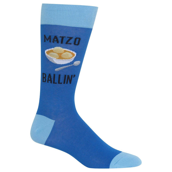 Hot Sox Socks Blue / One Size Men's Matzo Ballin' Crew Socks
