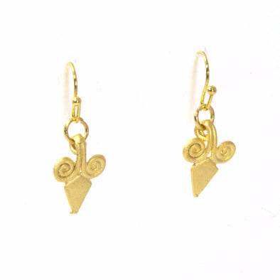 Gold Fleur De Lis Earrings by Throwing Stars Jewelry - ModernTribe - 1