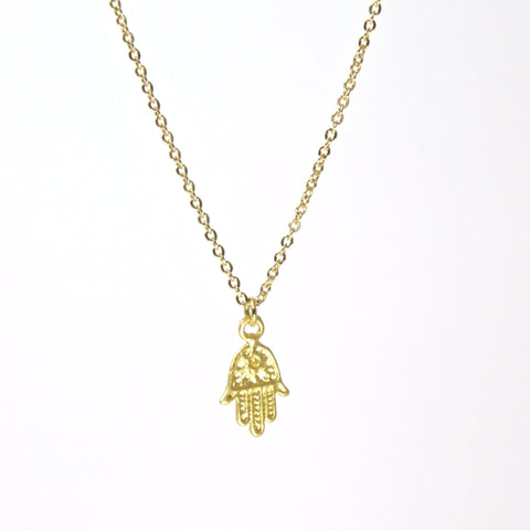 Tiny Hamsa Gold Necklace by Throwing Stars Jewelry - ModernTribe - 1