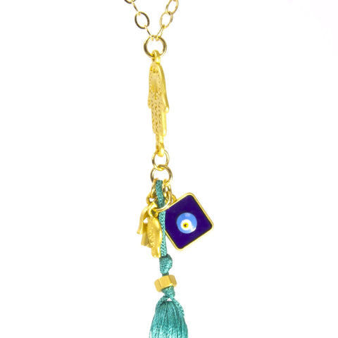 Hamsa Tassel Necklace by Throwing Stars Jewelry - ModernTribe - 1