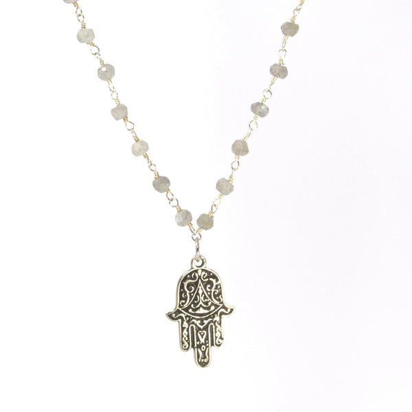 Throwing Stars Jewelry Necklaces Hamsa With Grace and Labradorite Necklace