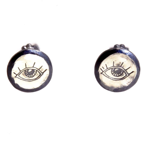 Handmade Sterling Silver Eye Earrings by Symbology - ModernTribe - 1