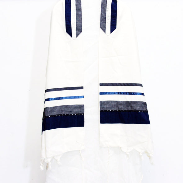 Tallit Set in Blue, Gray, and Black - ModernTribe