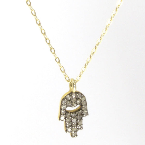 Throwing Stars Jewelry Necklaces Gold Pave Diamond Hamsa Necklace