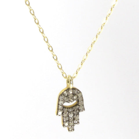 Pave Diamond Hamsa Necklace by Throwing Stars Jewelry - ModernTribe - 1