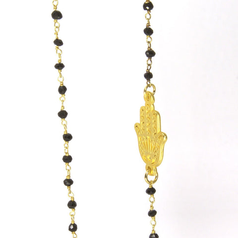 Hamsa with Black Onyx Rosary Necklace by Throwing Stars Jewelry - ModernTribe - 1