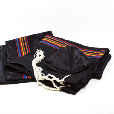 Tallit Set in Black with Multi-color Stripes by Temple Tallit - ModernTribe - 1