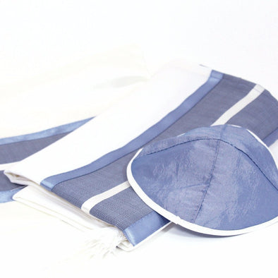 Handmade Tallit Set in Blues and Grays by CJ Art - ModernTribe - 1