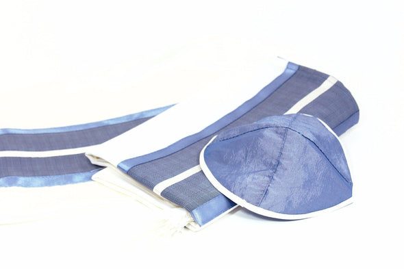 Handmade Tallit Set in Blues and Grays - ModernTribe
